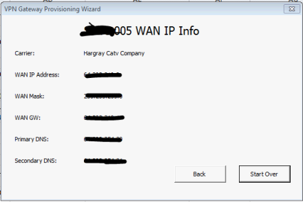 Present the Broadband IP address information to the user for this specific site so they can enter it into the VPN hardware appliance.